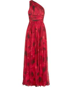 Michael Kors Collection | Poppy One-Shoulder Plissé Print Silk-Chiffon Gown