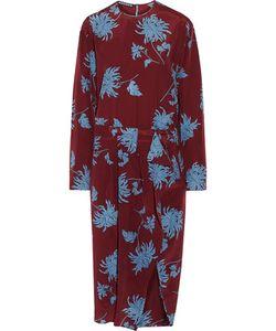 Rochas | Pleated Print Silk Crepe De Chine Midi Dress