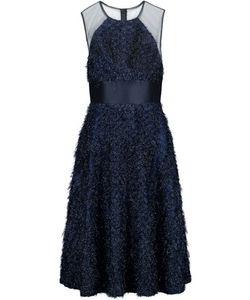 Lela Rose   Tulle-Paneled Fil Coupé Organza Midi Dress Storm