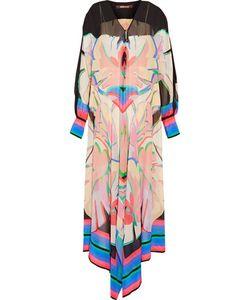 Roberto Cavalli   Asymmetric Printed Silk-Chiffon Maxi Dress