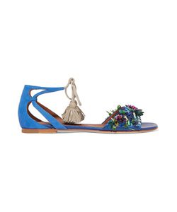 Malone Souliers | Gladys Tassel-Trimmed Embellished Suede Sandals