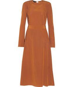Rochas | Pintucked Ruched Silk Crepe De Chine Midi Dress