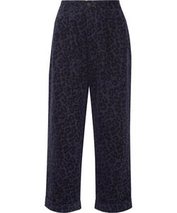 Sibling | Leopard-Print Brushed Cotton-Twill Wide-Leg Pants
