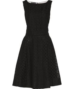 Rochas | Mesh-Paneled Embroidered Cotton And Linen-Blend Dress