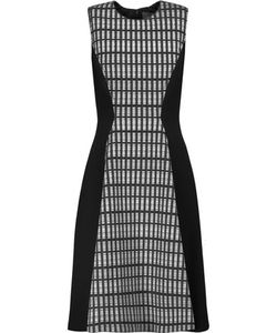 Lela Rose | Printed Wool Blend-Paneled Crepe Dress