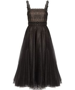 Marchesa Notte | Layered Embellished Tulle Midi Dress