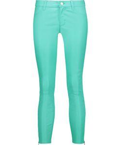J Brand   Cropped Stretch-Leather Skinny Pants