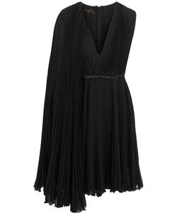 Giambattista Valli | Satin-Trimmed Pleated Silk-Georgette Dress