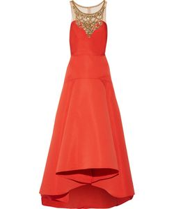 Marchesa Notte | Pleated Embellished Tulle And Faille Gown Tomato
