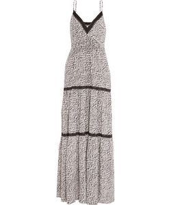 L'agence | Abby Lace-Trimmed Printed Silk Maxi Dress