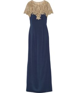 Marchesa Notte | Embroidered Tulle And Stretch-Silk Gown