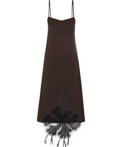 Rochas | Embroidered Crepe Midi Dress