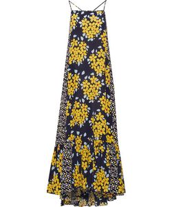Suno | Pleated Printed Silk Maxi Dress