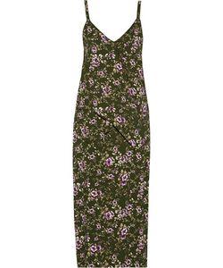 Rochas | Ruffled Print Crepe Midi Dress