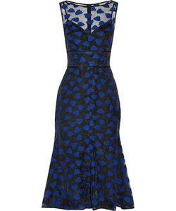 Lela Rose | Fluted Embroidered Organza Midi Dress