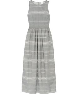 Iris and Ink | Striped Dévoré-Chambray Maxi Dress
