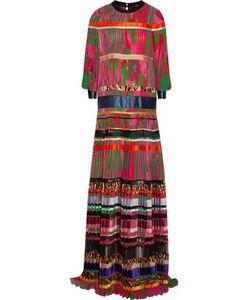 Roberto Cavalli   Printed Plissé-Silk Gown