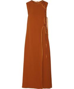Rosetta Getty | Tie-Front Satin-Trimmed Canvas Maxi Dress