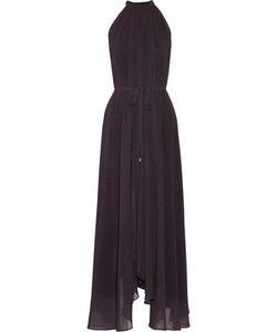Saloni | Irina Halterneck Polka-Dot Chiffon Maxi Dress