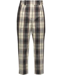 Michael Kors Collection | Checked Cotton-Canvas Tapered Pants