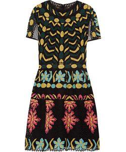 Valentino | Pleated Embroidered Tulle Mini Dress
