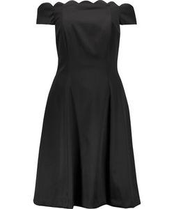 Badgley Mischka   Off-The-Shoulder Scalloped Duchesse-Satin Dress