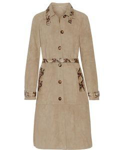 Michael Kors Collection | Belted Snake Effect-Trimmed Suede Coat