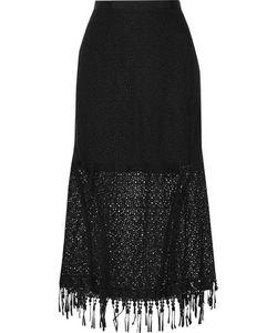 Saloni   Bibi Embroide Guipure Lace Cotton Midi Skirt