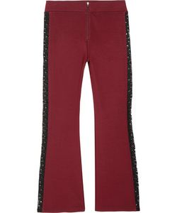Ganni | Rogers Cropped Lace-Trimmed Stretch-Jersey Flared Pants