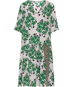 Suno   Pleated Print Silk Dress