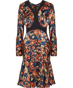 Zac Posen | Scuba-Trimmed Print Silk-Charmeuse Dress