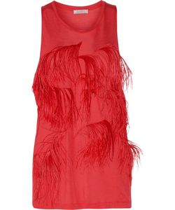 Nina Ricci | Feather-Embellished Stretch-Jersey Top