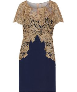 Marchesa Notte | Embroidered Tulle And Stretch-Silk Dress