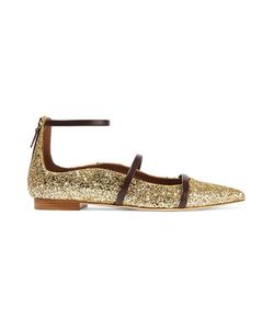 Malone Souliers | Robyn Glittered Leather Pointed-Toe Flats