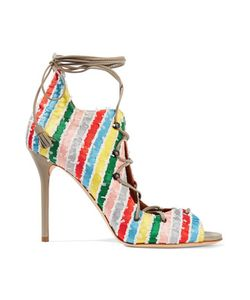 Malone Souliers | Savannah Lace-Up Leather-Trimmed Striped Satin Sandals