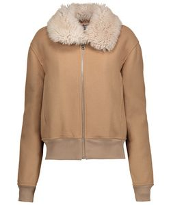 J.W.Anderson | Shearling-Trimmed Embroide Wool-Blend Bomber Jacket