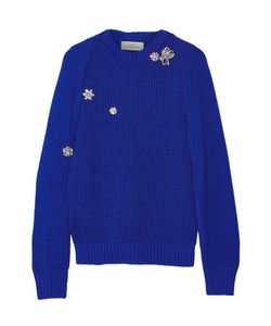 Preen by Thornton Bregazzi | Sofie Crystal-Embellished Cutout Cotton Sweater