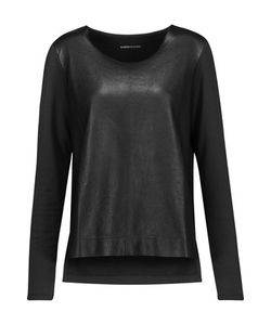 Majestic | Paneled Leather And Stretch-Jersey Top