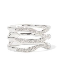 MONICA VINADER | Riva Wave Sterling And Diamond Ring