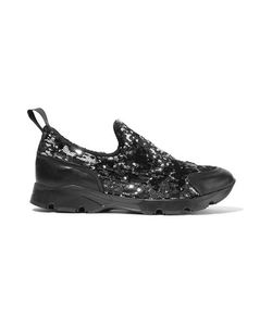 Mm6 Maison Margiela   Sequined Leather Slip-On Sneakers