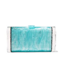 Edie Parker | Lara Backlit Paneled Glitte Acrylic Box Clutch