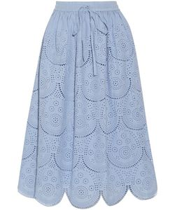 Suno | Pleated Broderie Anglaise Cotton Midi Skirt
