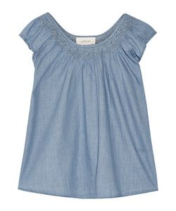 The Great | Embroide Cotton-Chambray Top