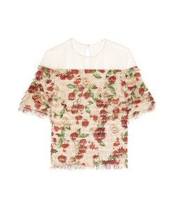 Mother Of Pearl | Avery Fringed Printed Silk-Voile Top Antique