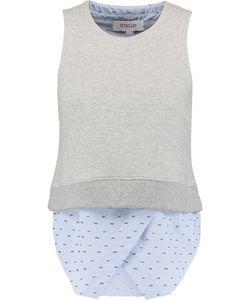 Derek Lam 10 Crosby   Layered Cotton-Fleece And Printed Cotton-Blend Poplin