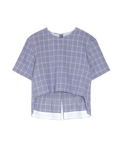 Tim Coppens | Checked Crinkled Cotton-Blend Top