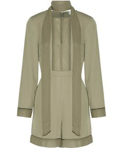Zimmermann | Pussy-Bow Silk Chiffon-Paneled Crepe Playsuit