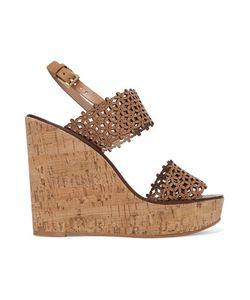Tory Burch | Laser-Cut Leather Wedge Sandals