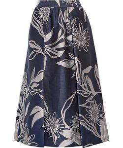 Suno | Pleated Brocade Midi Skirt