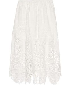 Anna Sui | Crochet-Trimmed Embroidered Cotton Midi Skirt